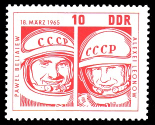 10 Pf Briefmarke: sowjetische Raumfahrt, Woschod 2