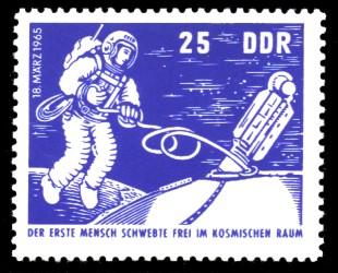 25 Pf Briefmarke: sowjetische Raumfahrt, Woschod 2