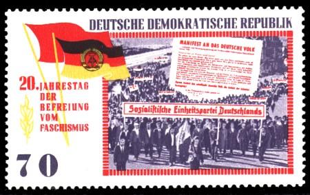 70 Pf Briefmarke: 20 Jahre Befreiung vom Faschismus