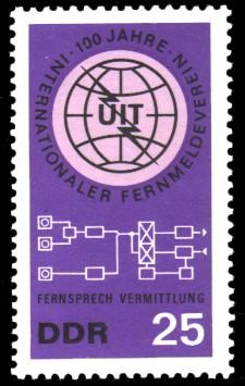25 Pf Briefmarke: 100 Jahre Internationaler Fernmeldeverein