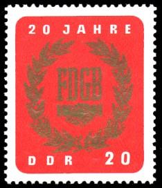 20 Pf Briefmarke: 20 Jahre FDGB