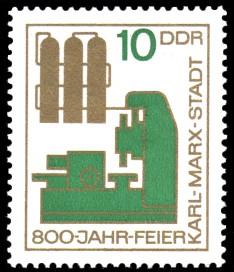 10 Pf Briefmarke: 800 Jahre Karl-Marx-Stadt
