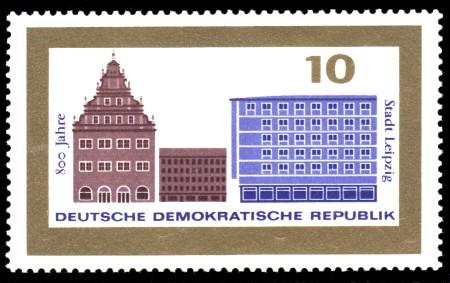 10 Pf Briefmarke: 800 Jahre Stadt Leipzig
