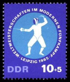 10 + 5 Pf Briefmarke: Weltmeisterschaften Fünfkampf, Degenfechten