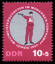 10 + 5 Pf Briefmarke: Weltmeisterschaften Fünfkampf, Pistolenschießen