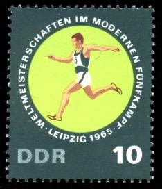 10 Pf Briefmarke: Weltmeisterschaften Fünfkampf, Geländelauf