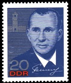 20 Pf Briefmarke: Kosmonautenbesuch in der DDR, Beljajew