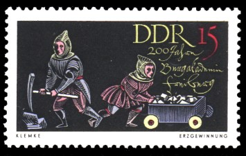 15 Pf Briefmarke: 200 Jahre Bergakademie Freiberg