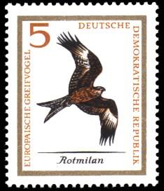 5 Pf Briefmarke: Europäische Greifvögel, Rotmilan