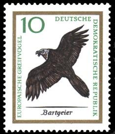 10 Pf Briefmarke: Europäische Greifvögel, Bartgeier