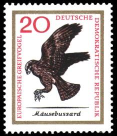 20 Pf Briefmarke: Europäische Greifvögel, Mäusebussard