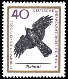 40 Pf Briefmarke: Europäische Greifvögel, Habicht