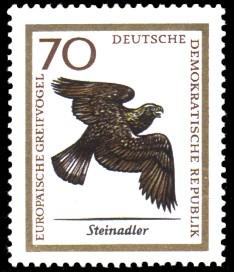 70 Pf Briefmarke: Europäische Greifvögel, Steinadler