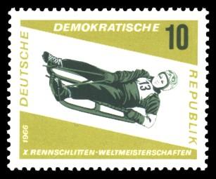 10 Pf Briefmarke: Rennschlittensport