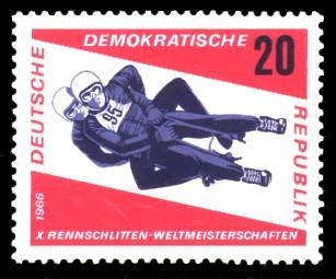 20 Pf Briefmarke: Rennschlittensport