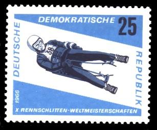 25 Pf Briefmarke: Rennschlittensport