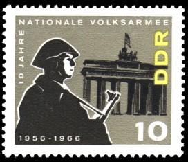 10 Pf Briefmarke: 10 Jahre NVA
