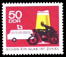 50 Pf Briefmarke: Straßenverkehr, kein Alkohol