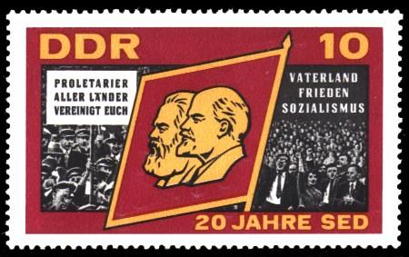 10 Pf Briefmarke: 20 Jahre SED