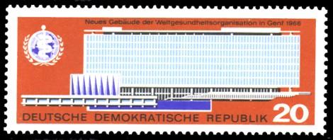 20 Pf Briefmarke: Neues Gebäude der WHO