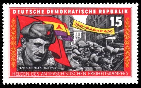 15 Pf Briefmarke: Helden des antifaschistischen Freiheitskampfes, Hans Beimler