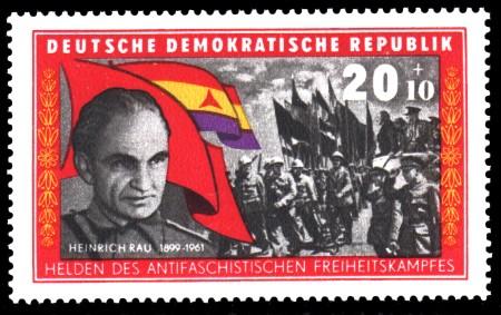 20 + 10 Pf Briefmarke: Helden des antifaschistischen Freiheitskampfes, Heinrich Rau