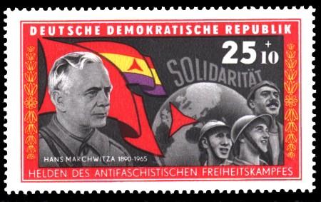 25 + 10 Pf Briefmarke: Helden des antifaschistischen Freiheitskampfes, Hans Marchwitza