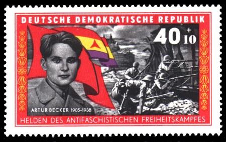 40 + 10 Pf Briefmarke: Helden des antifaschistischen Freiheitskampfes, Artur Becker