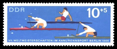 10 + 5 Pf Briefmarke: VII. Weltmeisterschaft im Kanurennsport