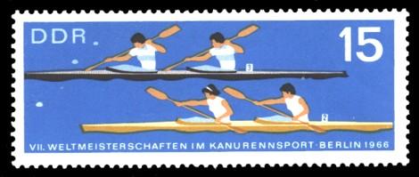 15 Pf Briefmarke: VII. Weltmeisterschaft im Kanurennsport