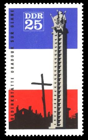 25 Pf Briefmarke: Oradour-sur-Glane, Mahn- und Gedenkstätte