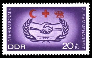 20 + 10 Pf Briefmarke: Popularisierung des Blutspendewesens, der internationalen Zusammenarbeit und der Gesundheitserziehung