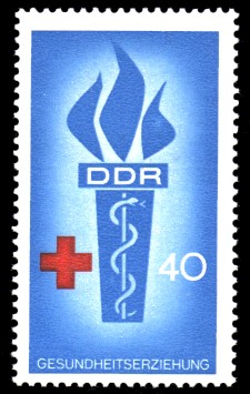 40 Pf Briefmarke: Popularisierung des Blutspendewesens, der internationalen Zusammenarbeit und der Gesundheitserziehung