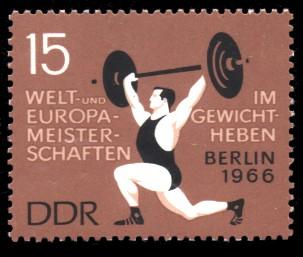 15 Pf Briefmarke: Welt- und Europameisterschaften im Gewichtheben