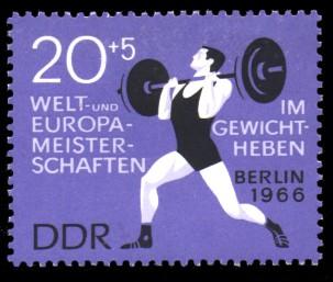 20 + 5 Pf Briefmarke: Welt- und Europameisterschaften im Gewichtheben