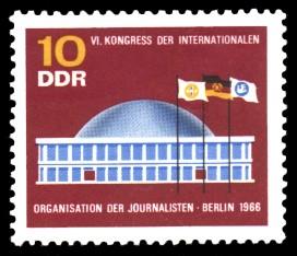 10 Pf Briefmarke: Kongress der Journalisten