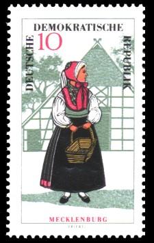 10 Pf Briefmarke: Volkstrachten in der DDR