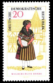 20 Pf Briefmarke: Volkstrachten in der DDR