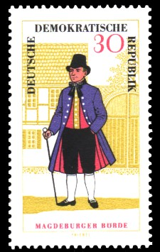 30 Pf Briefmarke: Volkstrachten in der DDR