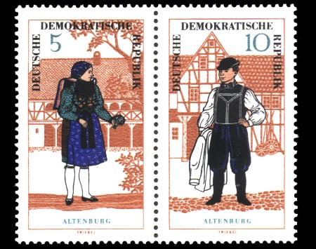 5 Pf / 10 Pf Briefmarke: Zusammendruck Volkstrachten / Trachtenpaar