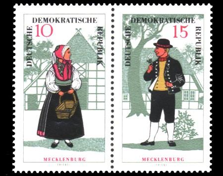 10 Pf / 15 Pf Briefmarke: Zusammendruck Volkstrachten / Trachtenpaar