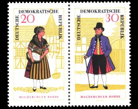 20 Pf / 30 Pf Briefmarke: Zusammendruck Volkstrachten / Trachtenpaar