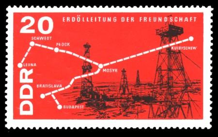 20 Pf Briefmarke: Chemieindustrie, Erdölleitung Freundschaft