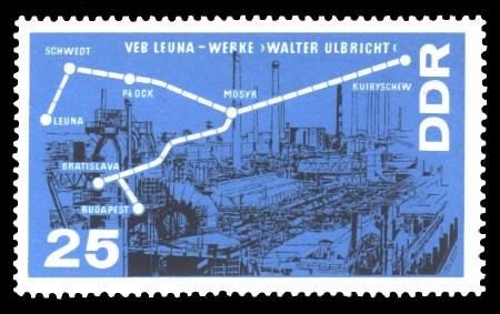 25 Pf Briefmarke: Chemieindustrie, Erdölleitung Freundschaft
