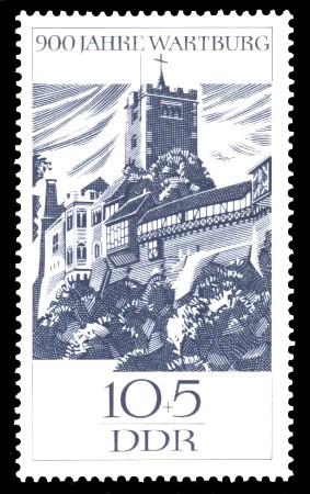 10 + 5 Pf Briefmarke: 900 Jahre Wartburg