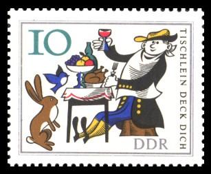 10 Pf Briefmarke: Märchen 'Tischlein deck dich'