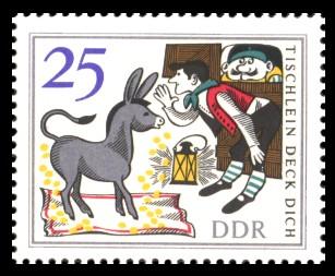 25 Pf Briefmarke: Märchen 'Tischlein deck dich'