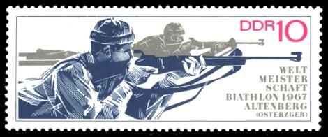 10 Pf Briefmarke: Biathlon - Weltmeisterschaften