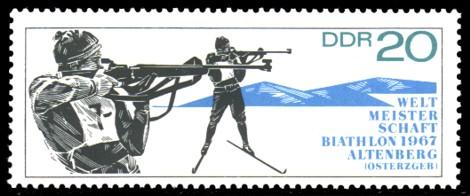 20 Pf Briefmarke: Biathlon - Weltmeisterschaften
