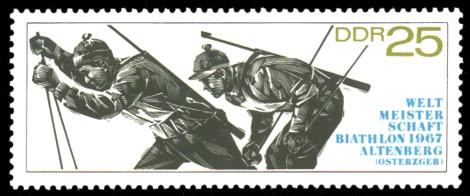 25 Pf Briefmarke: Biathlon - Weltmeisterschaften